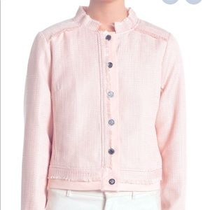 DKNY Tweed Jacket Combo Blush Pink Button Up S:L
